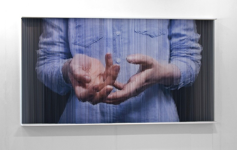 (2)String Mirror_c_hands_6531, print on elastic strings in a steel frame 120 x 220 x 15 (cm) 2010