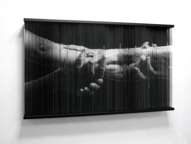 (2)String Mirror_hands_2091, 2092  print on elastic string  steel frame  85 x 140 x 14 (cm) 2009