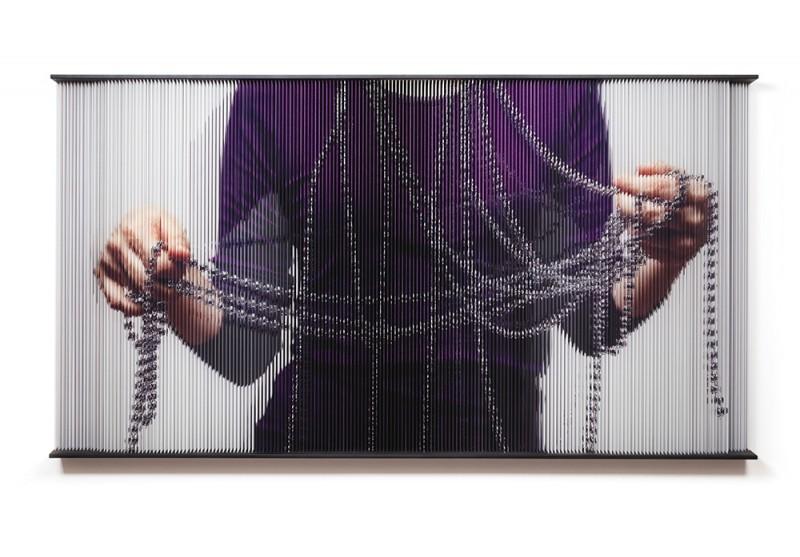 (4)String_hands_1620 print on elastic strings in a steel frame  120 x 200 x 15 cm 2011