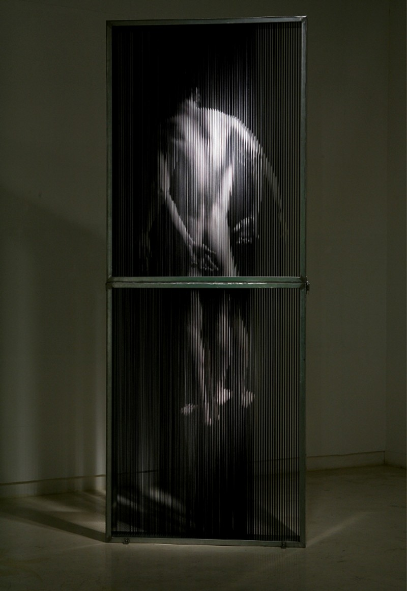 (6)string_mirror_body print on elastic strings in a steel frame 106 x 276 x 15 (cm) 2007